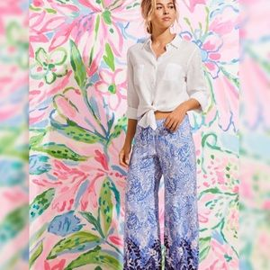 Lilly Pulitzer Bal Harbour Palazzo Pants Blue Peri